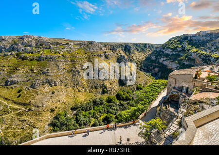 The steep cliffs, caves, sassi and canyons of the ancient city of Matera, Italy, taken from the Madonna de Idris church in the Basilicata region. - Stock Image