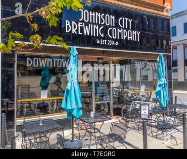JOHNSON CITY, TN, USA-4/27/19: Front building exterior of the Johnson City Brewing Company, a Main Street brewery and restaurant. - Stock Image