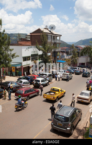 Street view in Kigali city center, Rwanda - Stock Image