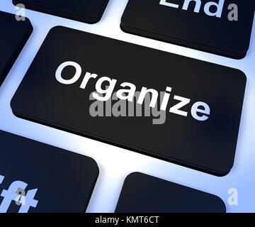 Organize Computer Key Shows Managing Online - Stock Image