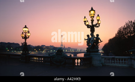 France Paris Pont Alexandre III Eiffel Tower Laterne - Stock Image