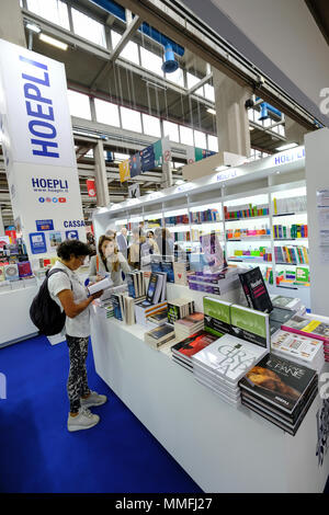 Turin, Piedmont, Italy, 10th May, 2018. International Book fair 2018,first day.Hoepli publisher's stand Credit: RENATO VALTERZA/Alamy Live News - Stock Image