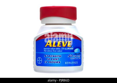 Aleve, Naproxen Tablets, Bottle of Aleve - Stock Image