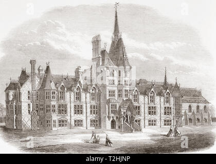 The French Protestant Hospital, (1718 - 1949), Victoria Park, London, England, seen here in its new location, 1865.  This hospital was established as an almshouse for the relief of poor, distressed Huguenots.  From The Illustrated London News, published 1865. - Stock Image