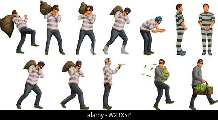 thief with bag of cash set - Stock Image