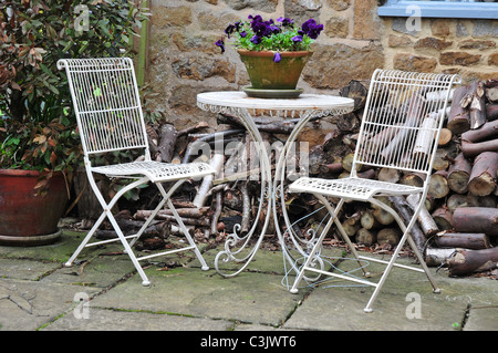 Table and chairs with plant on table in a garden in the Oxfordshire village of Hook Norton - Stock Image