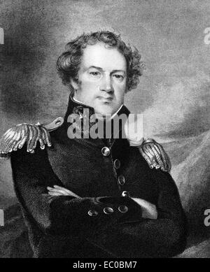 Alexander Macomb (1782-1841) on engraving from 1834. Commanding General of the United States Army during 1828-1841. - Stock Image
