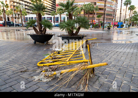 Benidorm, Costa Blanca, Spain, 28th January 2018. The storm last night in Benidorm caused localised flooding. Seen - Stock Image