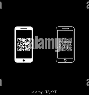 Smartphone with QR code on screen icon outline set white color vector illustration flat style simple image - Stock Image