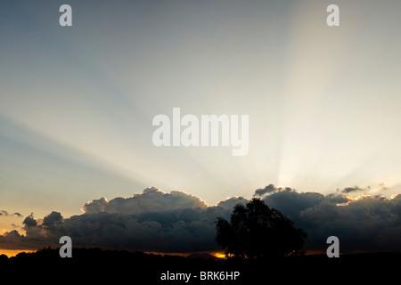 Dramatic crepuscular sun rays - Stock Image