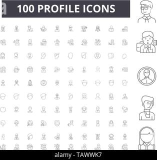 Profile line icons, signs, vector set, outline illustration concept  - Stock Image