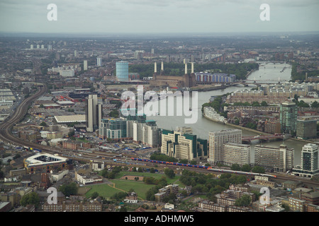 Aerial view of the MI6 Headquarters at Vauxhall Cross in London. Also featured is Battersea Power Station, Nine Elms and Pimlico - Stock Image