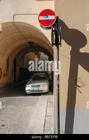 Parma, Italy, art object road sign, travel is prohibited - Stock Image