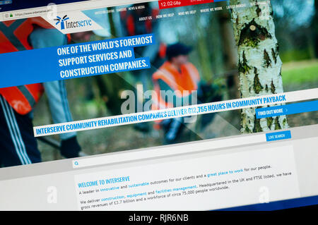 Home page of the website of Interserve the UK based multinational support services & construction company highlighting work in Community Payback. - Stock Image