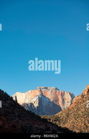 View through Zion Canyon to the Altar of Sacrifice, Zion National Park, Utah, USA - Stock Image