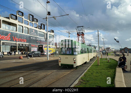 Blackpool's Progress Twin Cars Nos.675 & 685 Approaching The Tower -1 - Stock Image