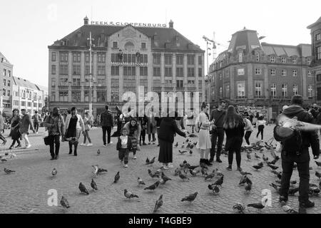 Amsterdam, Netherlands - April 2019; Madam Tussaud, Dam Square. - Stock Image