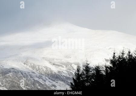Snow covered mountain in the western highlands of Scotland - Stock Image