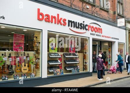 Banks Musicroom shop York North Yorkshire England UK United Kingdom GB Great Britain - Stock Image
