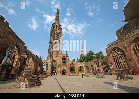 Coventry, UK - July 26th 2018: The historic Coventry Cathedral, also known as St. Michaels, which was destroyed during a bombing raid by the Luftwaffe - Stock Image
