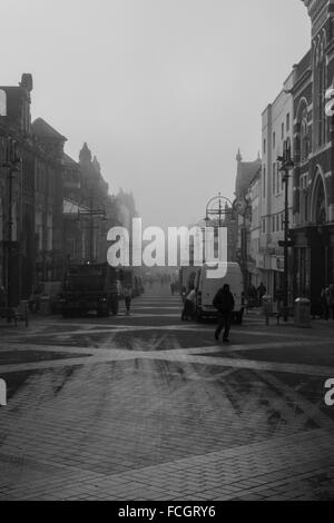 Briggate is one of the oldest streets in the city of Leeds. - Stock Image