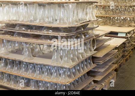Czech Republic, Nizbor. Palettes of glassware in Ruckl Crystal Factory. Credit as: Wendy Kaveney / Jaynes Gallery - Stock Image