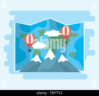 global map with air balloons and snowy mountains vector illustration - Stock Image