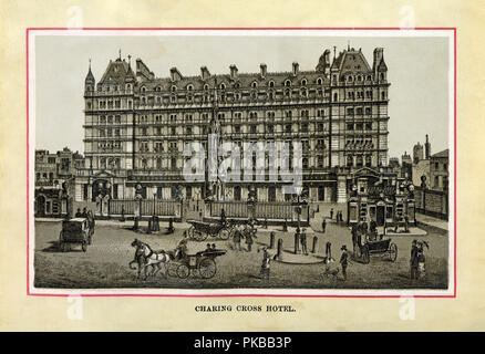 Charing Cross Hotel, 1880 high quality steel engraving of the railway station hotel designed by Edward Middleton Barry opened on 15 May 1865 with 250 bedrooms on the corner of the Strand and Villers Street across from Trafalgar Square - Stock Image