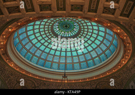 Chicago cultural centre glass dome with intricate green glass mosaic - Stock Image