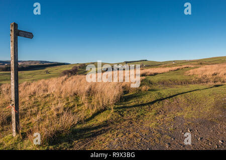 North Pennines AONB Landscape, towards Ettersgill from Ash Hill, Teesdale County Durham UK in strong winter sunshine and a clear blue sky - Stock Image