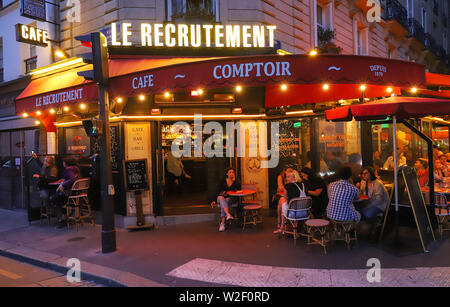 Cafe Recrutement is typical French cafe located near the Eiffel tower in Paris, France. - Stock Image
