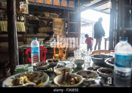 Traditional local restaurant, Pathein, Myanmar - Stock Image