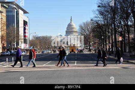 View of US Capitol and Newseum, Pennsylvania Avenue, Washington DC - Stock Image