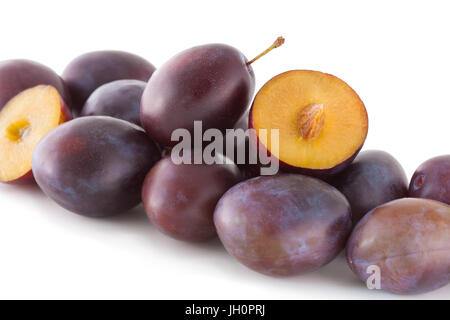 Fruits, plums isolated on white - Stock Image