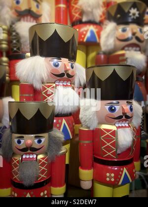 Traditional German Nutcracker figures for sale at the Christmas market in Berlin Germany - Stock Image