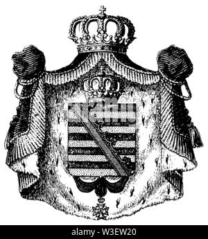 Coat of arms of Saxony-Weimar-Eisenach, ,  (cultural history book, 1875) - Stock Image