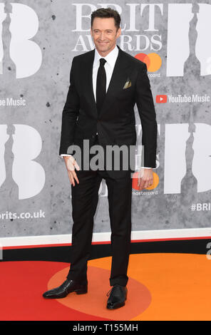 The Brit Awards 2019 held at the O2 - Arrivals  Featuring: Hugh Jackman Where: London, United Kingdom When: 20 Feb 2019 Credit: WENN.com - Stock Image