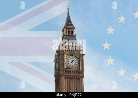 Brexit concept image: The Big Ben between the Union Jack and the European Flag - Stock Image