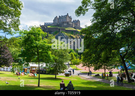 The Castle from West Princes Street Gardens, Edinburgh, Scotland, UK. - Stock Image