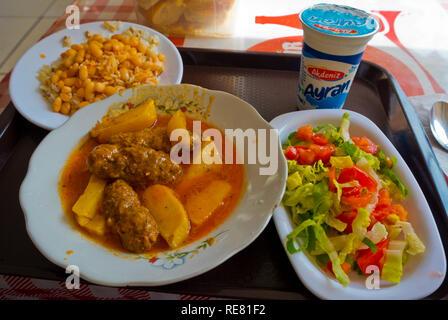 Kofte, meat balls with tomato sauce, beans, rice, salad and ayran, Antalya, Turkey, Eurasia - Stock Image