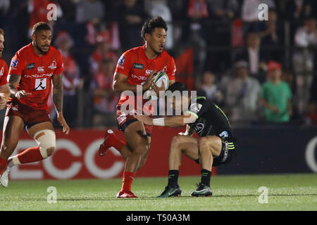 Tokyo, Japan. 19th Apr, 2019. Ryohei Yamanaka (Sunwolves) Rugby : 2019 Super Rugby match between Sunwolves 23-29 Hurricanes at Prince Chichibu Memorial Stadium in Tokyo, Japan . Credit: YUTAKA/AFLO SPORT/Alamy Live News - Stock Image