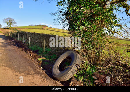 Rural roadside lay-by with abandoned used tire - Stock Image