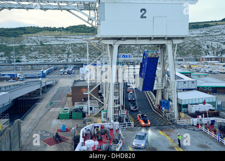 Dover ferry loading with cars - Stock Image