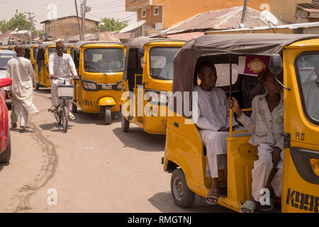 Tuk-tuk motorcycle taxis in Maiduguri, a northern NIgerian city. - Stock Image