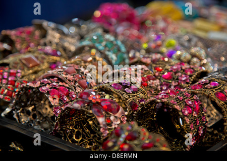 Close up of bracelets sold at New Orleans Market, Louisiana USA - Stock Image