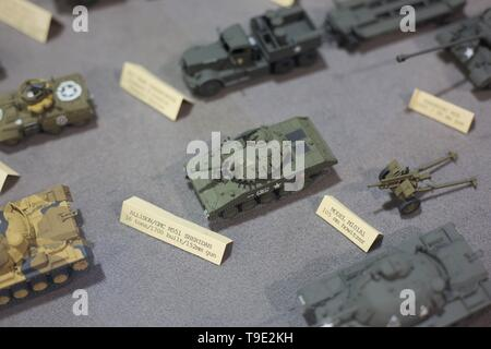 A display of military vehicle models at the Air and Space Museum in Eugene, Oregon, USA. - Stock Image