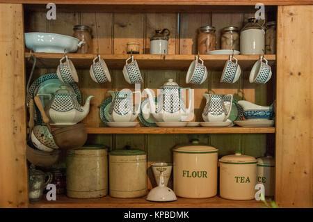 Rustic kitchenware at Lavandula Swiss Italian Farm, near Hepburn Springs, a popular weekend destination in Victoria, - Stock Image