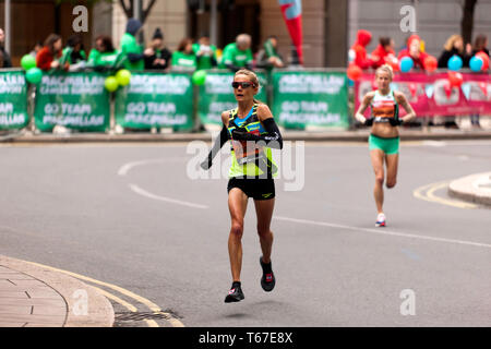 Elite Female Athlete, Sonia Samuels competing for Great Britain, in the 2019 London Marathon. She went on to finish 20th, in a time of 02:36:50 - Stock Image