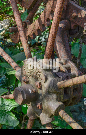 Rusty farm equipment among a patch of field edge weeds, - Stock Image