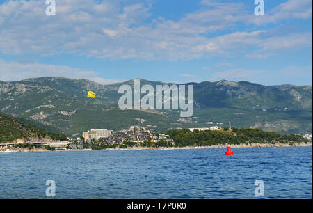 Complex of luxury villas on the cape Zavala in Budva, Montenegro. - Stock Image